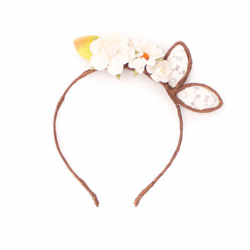 Lace and Floral Bunny Ears Headband - Floral Crown Ears - Lolita Bunny Ears - Cute Bunny Ears -  Kawaii  Ears - White Rabbit Bunny Ears