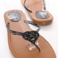 Black Woven Multi Strappy Thong Sandals