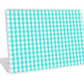 Turquoise White Gingham Check Pattern by TigerLynx
