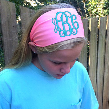 Monogram Non Slip Bubble gum PINK colored Headband  Font shown INTERLOCKING in light pool