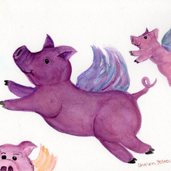 Purple Flying Pigs  original watercolor by SharonFosterArt on Etsy