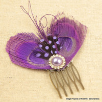 Purple Peacock Comb,Handcrafted Peacock Feather Fascinator,Vintage Style Hair Accessory,with Purple Tone Pearl Rhinestone