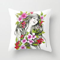 Woman portrait,  Ink & watercolor illustration Throw Pillow by Koma Art