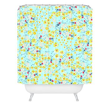 Joy Laforme Wild Floral Ditsy In Pale Blue Shower Curtain