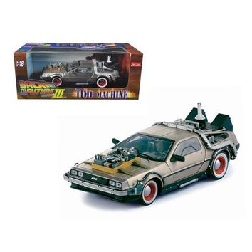 """Delorean Time Machine From """"Back To The Future III"""" Movie 1/18 Diecast Model Car by Sunstar"""
