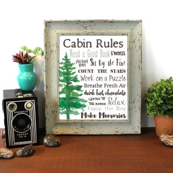 Cabin Rules, Lake, Cabin, Lake House Decor, Typography, Lodge, Rustic, Nature Lovers, Mountain Decor Nature Art Wall Art Outdoors sign