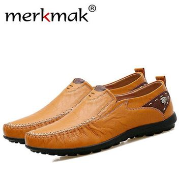Merkmak leather shoes Men Big Size 38-47 New Split Casual Shoes Fashion Top Quality Driving Moccasins Slip On Loafers Flat Shoes