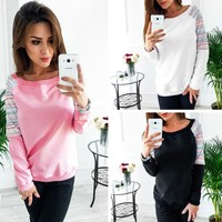 Tops Winter Long Sleeve Patchwork Sweatershirt [45376962575]