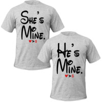 he's/she's mine love more than money Couple Tshirts