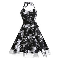 2017 Vintage Dresses For Women XXXL Plus Large Size Dress ukraine Floral Bandage Halter 1950s Rockabilly Retro Party Vestidos