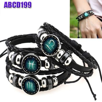 12 Constellations Bracelets Beaded Handmade Charm Leather Casual Personality Zodiac Signs Bracelet Punk Rock Men Women Jewelry T