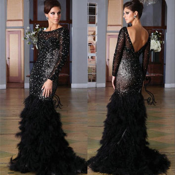 Mermaid Prom Dresses 2017 Long Sleeve Black Sequin Beading Backless Evening Dresses Custom Made Prom Gowns
