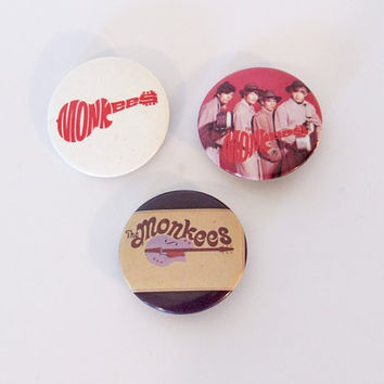 Vintage 1986 Set of 3 / The Monkees Pinback Buttons / 80s Pins