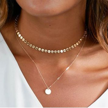 Multi Simple Women Coin Tassel Gold Chain Choker Necklace chocker Jewelry collana Bijoux Femme Joyas mujer Collier ras du cou