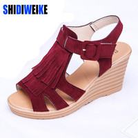 SHIDIWEIKE Women Fashion PU  Sandals 2017 Summer Tassel  Wedges Sandal Shoes  L068