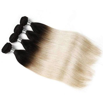 Ombre Indian Straight Hair Blonde 4 Bundles Deals T1B 613