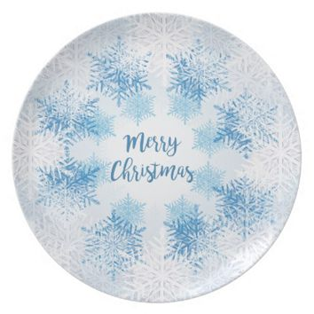 SHOW FLAKES PATTERN Merry Christmas Dinner Plate