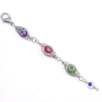 Beaded Zipper Pull – Wire Wrapped Millefiori Glass Handbag Charm - Evil Eye Jewelry – Stocking Stuffer