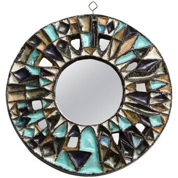 Les Argonautes Ceramic Blue Brown White Large Mirror, Midcentury, 1950s, France