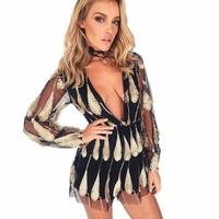 Feather Mesh Romper Jumpsuit For Women