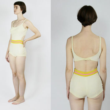 50s / 60s swimsuit cut out one piece swim suit white striped pin up retro SMALL MEDIUM S M bathing suit