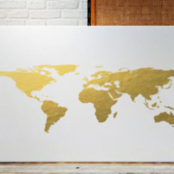 Shop gold foil world maps on wanelo real gold foil world map gold foil world map print gold map print gold foil map gumiabroncs Choice Image