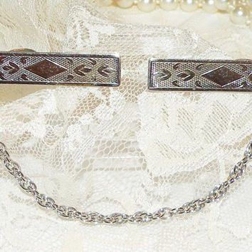 Vintage Sweater Clips Ornate Cardigan Sweater Guard Silver Tone Clips