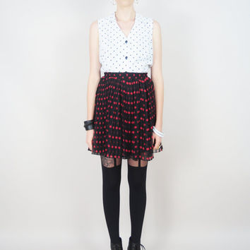 VINTAGE 80s collared black & white nautical black polka dots DOLLY tailored blouse top