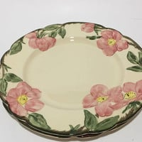 Franciscan Desert Rose Luncheon Plate, Pink Rose Ceramic Plates, Vintage Franciscanware, 3 Available, USA Backstamp