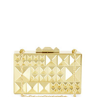 Gold BCBG Dee Pyramid Hard-Case Clutch