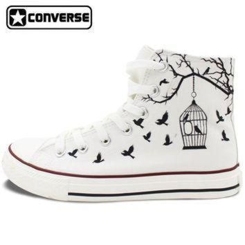 ICIK1IN white converse all star hand painted canvas shoes women men design bird cage sneakers