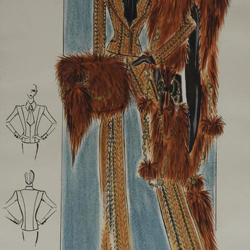 Vintage Fur Cape Fashion Sketch. Fashion Designer Drawing. French Couture Fashion Illustration