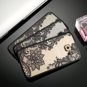 Sexy Retro Floral Phone Cases For iPhone 7 6 6s Plus Samsung Galaxy S7 S6 Edge S8 Plus Lace Flower