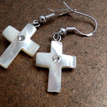 MOP Cross Earrings from Bethlehem, Holy Land, Vintage Hand Carved White Mother Of Pearl Cross Earrings w Sterling Silver Hooks