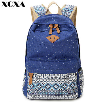 Vintage Girl School Bags For Teenagers Cute Dot Printing Canvas Women Backpack Mochila Feminina Casual Bag School Backpack