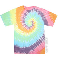 Pastel Spiral Tie Dye T Shirt on Sale for $16.95 at The Hippie Shop