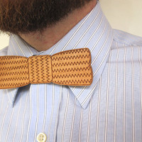 $15.00 Wood Bow Tie Pin  Chevron Zig Zag Laser Cut Wood by HavokDesigns