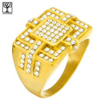 Jewelry Kay style Men's CZ Stoned Stainless Steel 14K Gold Plated Band Pinky Rings SSR 304 G