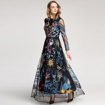 ICIKON3 2018 European Style High Quality New Retro Dress Colourful Embroidered Gauze Hollow-out Long Sleeved Floor Length Maxi Dresses