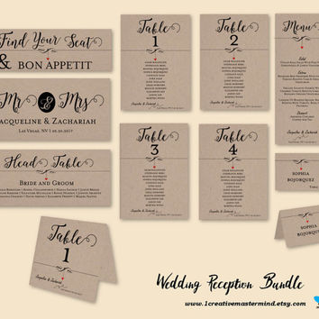 DIY Wedding Reception Bundle Template, Seating Chart, Table Card, Menu, Place card, Instant Download, Digital, Dangling Heart #1CM83-1