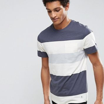 Selected Homme T-Shirt with Block Stripe at asos.com