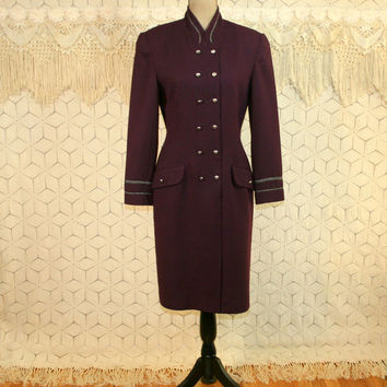 80s Vintage Wool Dress Long Sleeve Winter Dress Fitted Midi Medium Plum Purple Dress Double Breasted Button Up Coat Dress Womens Clothing