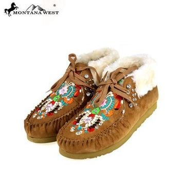 Montana West Embroidered Moccasins