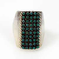 Zuni Turquoise Dots Silver Ring Sterling Pete & Vivian Haloo