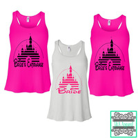 Bride's Entourage Tank Tops - Fairytale Bachelorette Party Tank Tops - Disney Inspired - Ladies Flowy Racerback Tank Top
