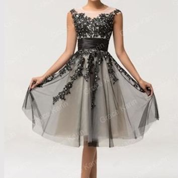 Grace Karin High neck Lace black Prom Dresses short Homecoming dresses 2018 tull ball gowns for party vestido de festa 7581