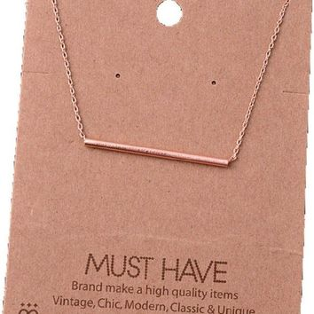 Must Have-Single Bar Necklace, Rose Gold