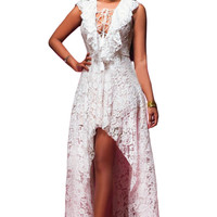 2016 Sleeveless Lace Long Evening Print White Lace High Low Maxi Dress Elegant Nude Illusion Open Back Gown autumn winter dress