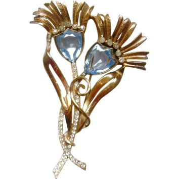 MAZER Vintage Shield Crystals Rhinestone Thistle Flower Brooch