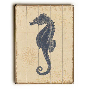 Coastal Seahorse by Artist Beth Albert Wood Sign